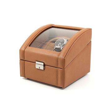 Tan Leather 2 Watch Winder With Glass Top