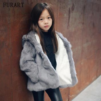 Fashion 2017 Children Real Rex Rabbit Fur Coat Hooded Baby Winter Warm Whole Fur Coat High-quality Fur Clothes Kids Warm Jacket