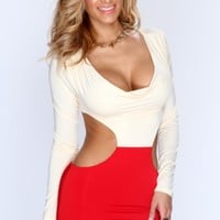 Cream Red Draped Cut Out Sexy Party Dress