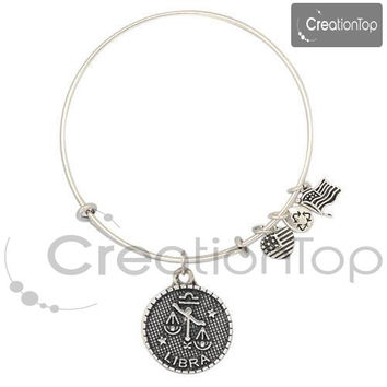SALE Adjustable wire bangle bracelet with horoscope charm(Stock in US)
