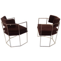 Stunning pair of Chocolate Mohair and Nickel Chairs designed by Milo Baughman