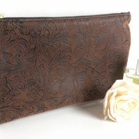 Faux Suede Pouch, Small Makeup Bag, Small Zipper Pouch, Brown Cosmetic Bag