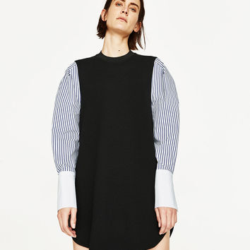 DRESS WITH CONTRAST SLEEVES DETAILS