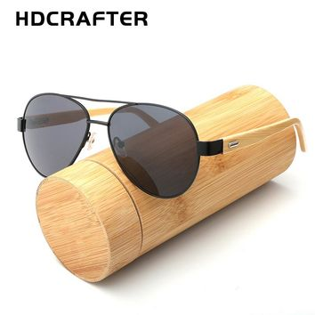 HDCRAFTER Fashionable Pilot Bamboo Sunglasses with Mirrored UV400 Lenses