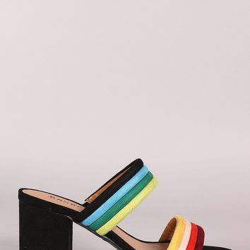Bamboo Multi Color Piping Double Straps Low Block Mule Heel