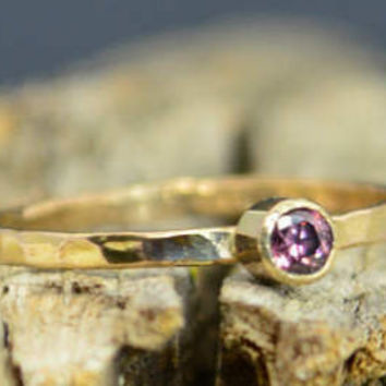 Classic Solid 14k Gold Alexandrite Ring