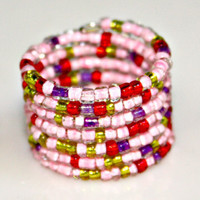 Pretty In Pink Wide Band Wrap Style adjustable Ring size 6-7