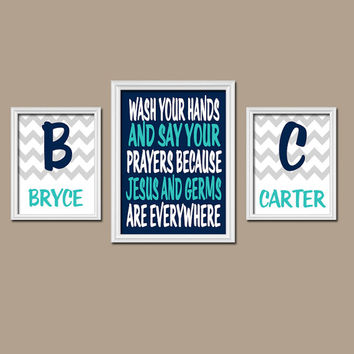 Brother Sister Bathroom Wall Art CANVAS or Prints Jesus and Germs Quote Boy Girl Bathroom You Choose Colors Personalized Name Set of 3