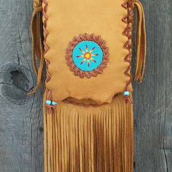 Beaded hippie purse   Fringed leather handbag  Crossbody leather purse