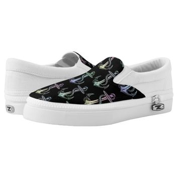 Anchor Rainbow Pastel Black Shoes Printed Shoes