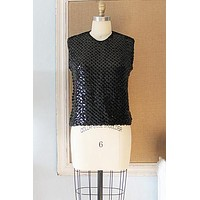 Vintage 1950s Sequin + Knit Party Top