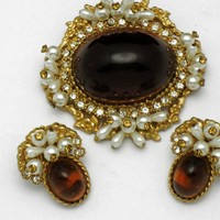 ALICE CAVINESS Ornate Honey Amber Lucite Cabochon Pearl Rhinestone Brooch and Earring SET