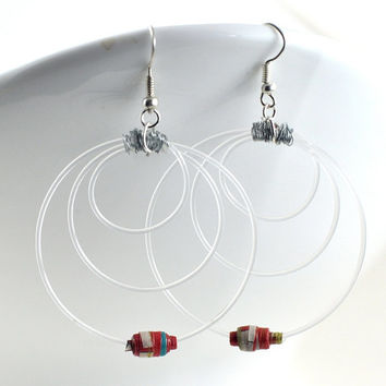 Red Hoop Earrings with Wire Wrapped Recycled Guitar Strings & Handmade Paper Beads - Music Lovers Gift Eco-friendly - Vegan Jewellery