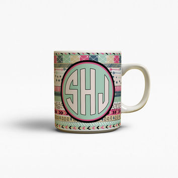 Unique gift for sister, Aztec coffee mug, Turquoise navy dark pink, Monogram ceramic mug, Custom mug, Personalized Tea mug, Cute (1402)