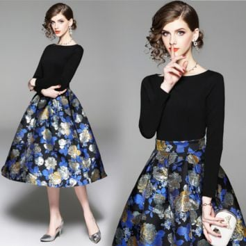 The latest fashionable high-end Jacquard Dress with round collar and waist long sleeve dress