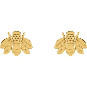 14K Gold Bumble Bee Earrings