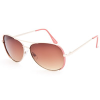 Full Tilt Air Mail Aviator Sunglasses Coral One Size For Women 25587731301