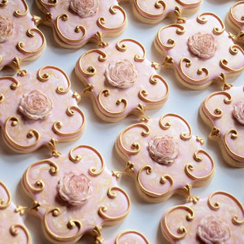 Elegant Pink & Gold Marbled Flower Cookies - One Dozen Decorated Sugar Cookies