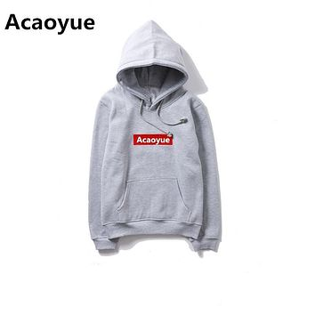 Acaoyue brand 2017 solid color plus velvet hoodie men and women 6 colors