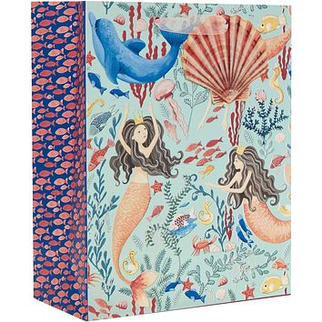 Jillson & Roberts Medium Gift Bags, Mermaids (12 Pieces)