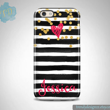 Personalized iPhone case, iPhone 6 case iPhone 5 5C case Samsung S6 Edge S5 S4 case, Watercolor Stripes Gold Confetti Hot Pink Heart (12)