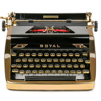 RESERVED / RARE 1953 Gold Royal Quiet De Luxe Typewriter / Professionally Serviced / Royal Typewriter
