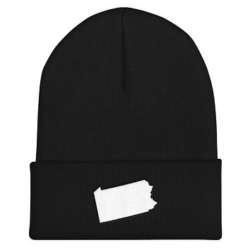 Pennsylvania Embroidered State Shape Cuffed Beanie