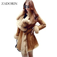 Winter Coats Women 2017 New Fashion Luxurious Faux Fur Coat High Quality Thicken Faux Suede Leather Jacket Long Overcoat Parkas