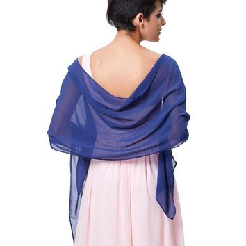 Elegant Women Bridal Wraps White Chiffon Evening Dress Shawl Wrap for Wedding Party Blue Red Purple Black Real Picture