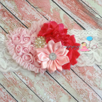 Pink Love Shabby Heart Headband, Pink and white headband. Baby Girls Headbands, Newborn headband, Photography  props, Valentine's headband