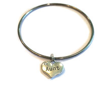 Aunt Charm Bracelet - Heart Shaped Aunt Charm Bangle - Silver Jewelry - Stacking Bangles - Aunt Jewelry - Gift for Aunt - Aunt Charm Silver