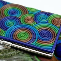 Business Card Case in Peacock Feather Polymer Clay by StarlessClay