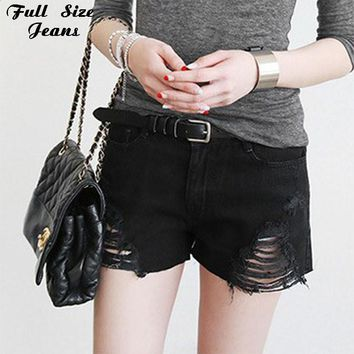 Plus Size Black Denim Shorts 4Xl Xl 5Xl Sexy Women Summer Hole Destroyed Shorts Jeans Oversized Casual Jeans Short Feminino
