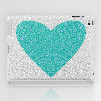 Aqua Glitter Heart iPad Case by M Studio - (NOT REAL GLITTER) - iPad 2nd, 3rd, 4th Gen, and iPad Mini