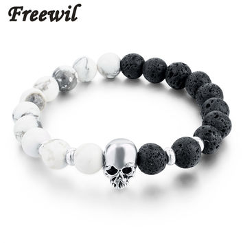 8mm 2016 Natural Stone Skull Bracelets & Bangles Lava Beads Elastic Women Bracelets Men Jewelry Accessories SBR160031
