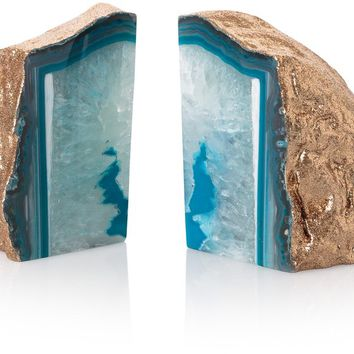Agate Stone Book Ends - New - Oliver Bonas