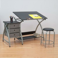 Silver And Black Studio Tilt Desk With Drawers And Padded Stool