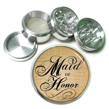 "Maid of Honor Gift 4 Piece Silver Alumium Grinder 2.5"" Wedding"