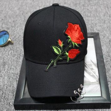 Trendy Winter Jacket Women Baseball Caps Girl Embroidery Rose Snapback Hip Hop Flat Hat Female Cotton Blend Casquette Gorras Metal Ring Casual Cap AT_92_12