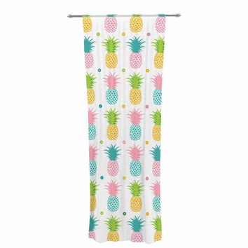 "afe images ""Pineapple Pattern"" Multicolor Pattern Food Digital Illustration Decorative Sheer Curtain"