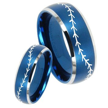 His Hers Baseball Stitch Dome Brushed Blue 2 Tone Tungsten Engraving Ring Set