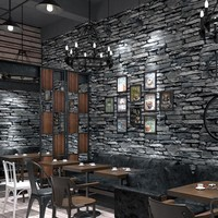 PVC Wallpaper 3D Embossed Brick Wallpaper Living Room Kitchen Hotel Restaurant Stone Wall Paper Rolls For Walls 3 D Home Decor