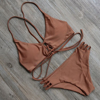 Coffee Brown Strappy Two Piece Bikini Set