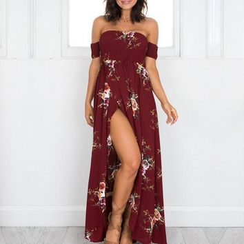 STYLEDOME Boho Floral Off the Shoulder Maxi Long Dresses