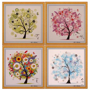 DIY Home Decor Chinese Cross Stitch Four Seasons Tree Embroidery Counted Chinese Cross Stitch Kit