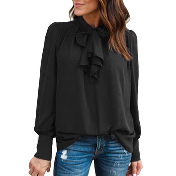 Women Casual Chiffon Long Sleeve Solid Bow Tops Blouse