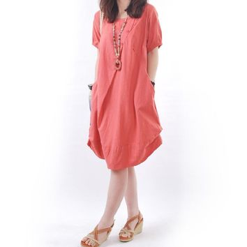 Cotton Linen Short Sleeve Tucked Button Front Pocket Dress