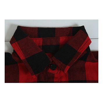 New Boys Girls Cotton Plaid Casual Shirts Kids Long Sleeve Autumn Turn-Down Collar Lace Red Plaid Fashion Shirts
