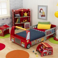 Kids bedroom furniture-Firetruck Toddler Bed / Cot by KidKraft, Free Shipping