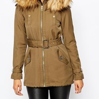 Lipsy Lightweight Parka with Faux Fur Trim